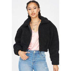 SWS Black Cropped Sherpa Zip-Up Jacket